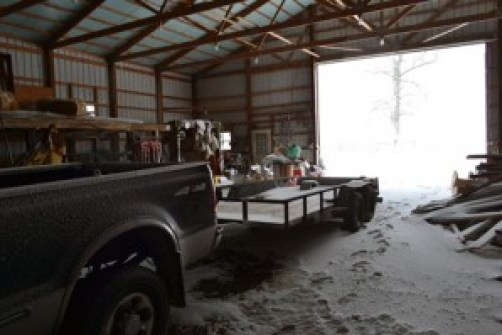 snow in the barn