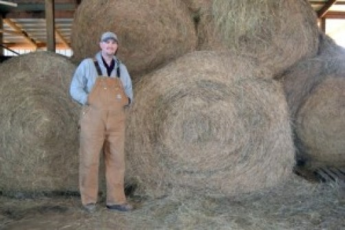farmer doc with round bales