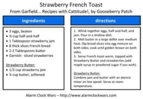 strawberry french toast recipe card