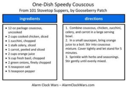 one-dish speedy couscous recipe card