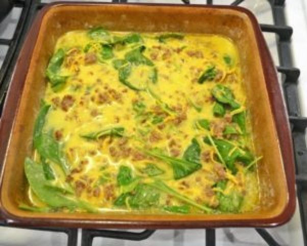 egg mixture in casserole dish