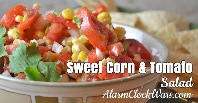 Sweet Corn & Tomato Salad from Alarm Clock Wars. This Sweet Corn and Tomato Salad is a wonderful cold salad, packed with tons of summery flavor!