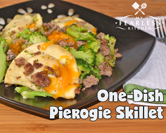 One-Dish Pierogie Skillet from My Fearless Kitchen. Are you looking for a fast, easy, family-friendly meal that won't get your kitchen blazing hot this summer? You'll love this One-Dish Pierogie Skillet!