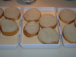 bread soaking for French toast