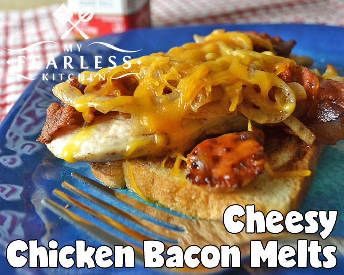 open-faced sandwich with chicken, bacon, and cheese