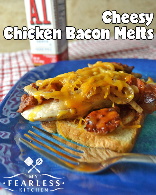 open-faced chicken, bacon, and cheese sandwich with A1 sauce