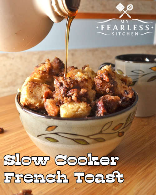 Slow Cooker French Toast from My Fearless Kitchen. Do you love French toast, but hate the hassle of making it in the morning? You have got to try this Slow-Cooker French Toast!