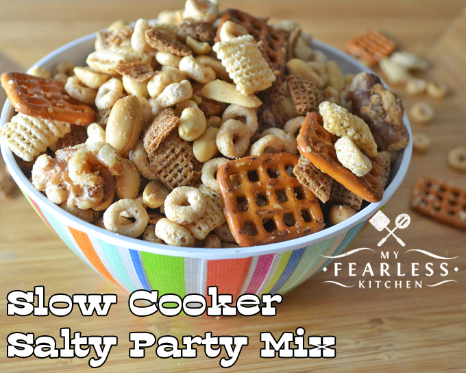 Slow Cooker Salty Party Mix from My Fearless Kitchen. Slow Cooker Salty Party Mix from My Fearless Kitchen. This Salty Party Mix can be made right in your slow cooker! Don't worry about turning on the oven or watching the timer every 15 minutes!