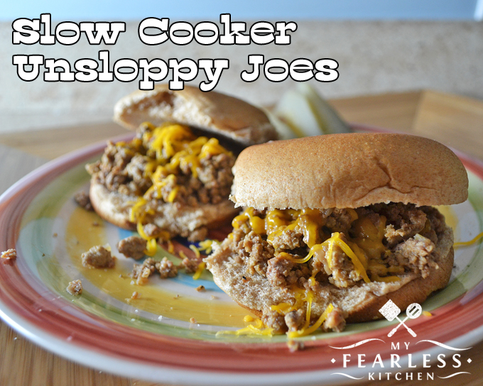Slow Cooker Unsloppy Joes from My Fearless Kitchen. Are you tired of Sloppy Joe recipes that end up all over your shirt instead of in your belly? Try these Un-Sloppy Joes & give your washing machine a break!