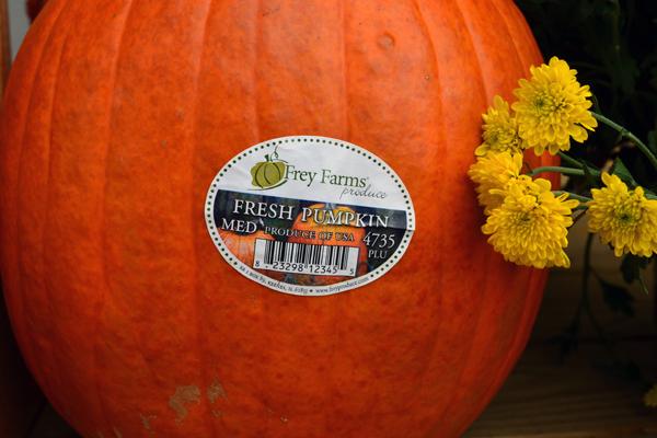sticker on pumpkin