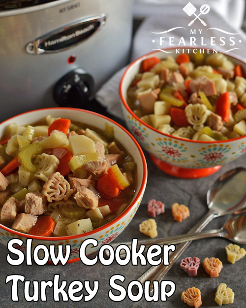 Slow Cooker Leftover Turkey Soup from My Fearless Kitchen. One of the best things about Thanksgiving is using those leftovers to make Turkey Soup! Toss everything in your slow cooker and enjoy an easy meal.