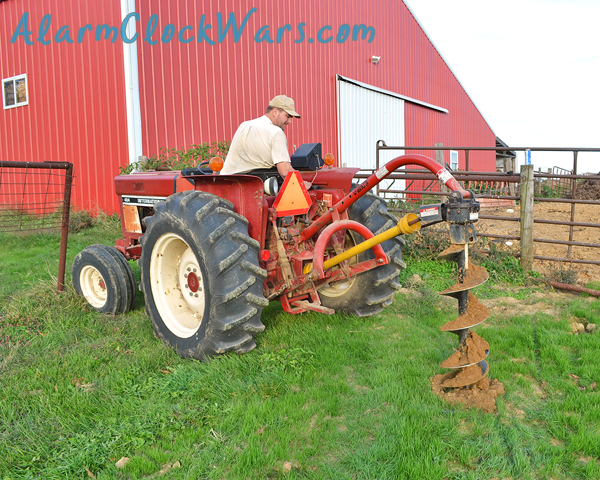 you need to get the fence post auger lined up right to dig a line of fence post holes