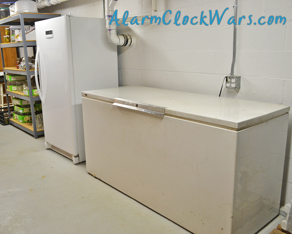 We have plenty of space in our basement for freezer and shelf storage.