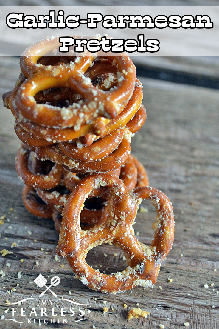 Garlic-Parmesan Pretzels from My Fearless Kitchen. Need a fast snack that's easy to make and that tastes good? Try this recipe for Garlic-Parmesan Pretzels. Only 4 ingredients and 6 minutes to snack time! #pretzel #snack #garlicparmesan