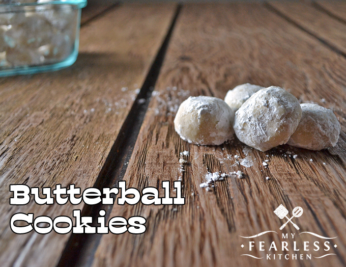 butterball cookies dusted with powdered sugar