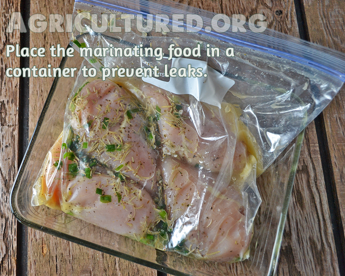 Place the sealed Ziploc bag inside a container. This will help prevent accidental leaks in the refrigerator.
