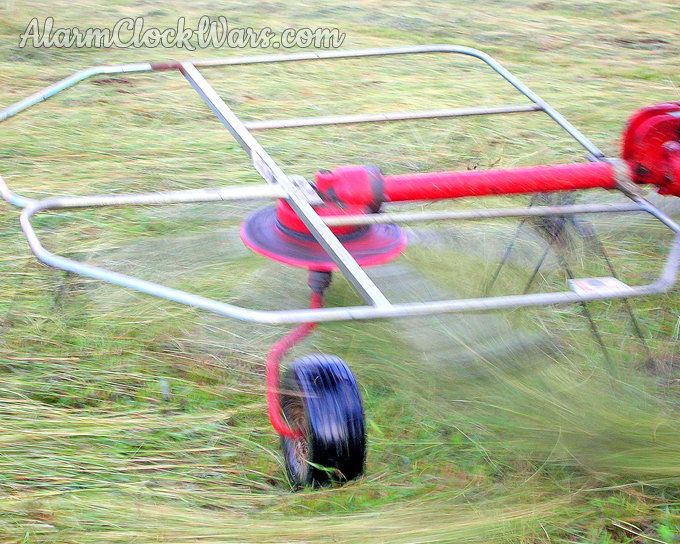 The tines on the tedder spin quickly to grab and lift the hay.
