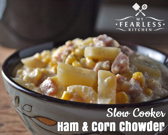 close up of a bowl of slow cooker ham and corn chowder