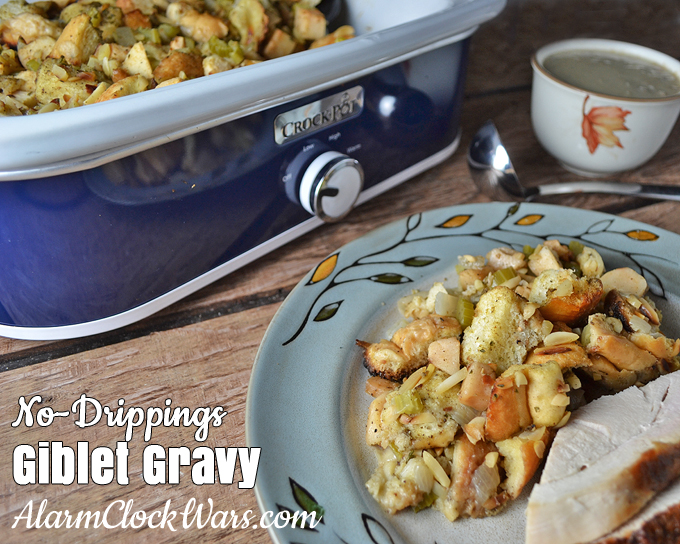 When you fry a turkey, you don't have any pan drippings to make your gravy. This recipe for No-Drippings Giblet Gravy is what you're looking for!