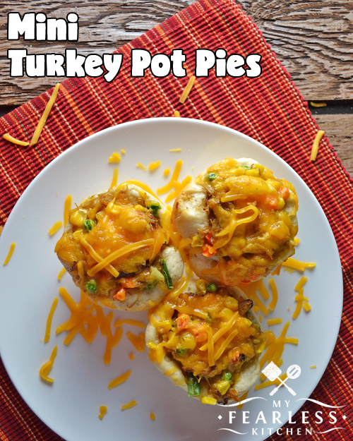 Mini Turkey Pot Pies from My Fearless Kitchen. Try these Mini Turkey Pot Pies for a fun twist on classic comfort food. Single-serving sizes makes them fun for kids and adults. No turkey? Use chicken or ground beef instead!