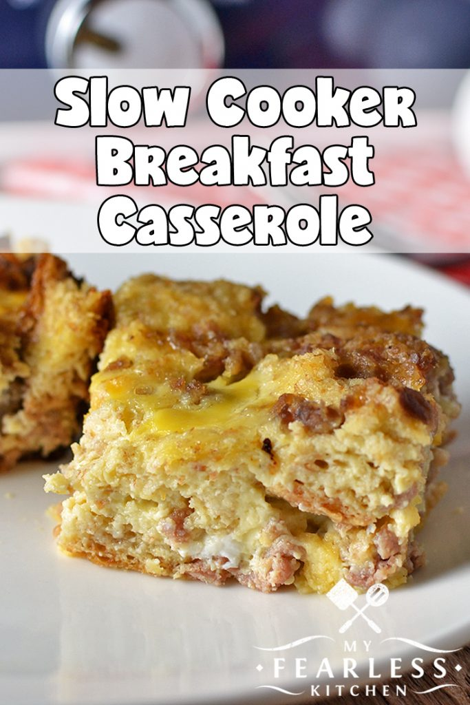 Slow Cooker Breakfast Casserole from My Fearless Kitchen. Make this Breakfast Casserole in your slow cooker for a hot, yummy breakfast that doesn't involve standing over the stove all morning! #breakfast #slowcooker #crockpot