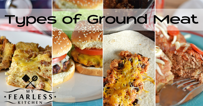 collage of recipes using different types of ground meats