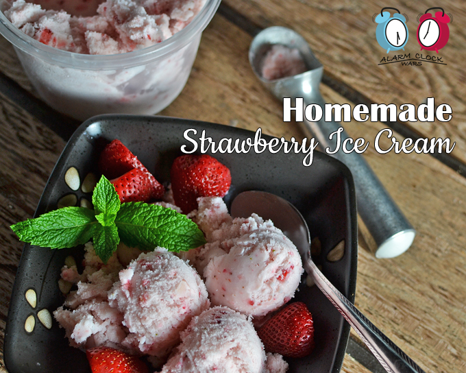 Homemade Strawberry Ice Cream on Alarm Clock Wars. Homemade ice cream is easier than you think. Make this Homemade Strawberry Ice Cream in your kitchen for a sweet treat any time you want!