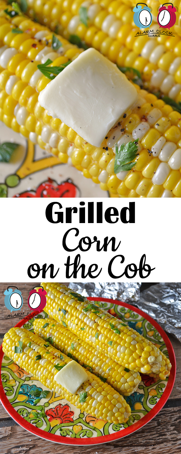 Grilled Corn on the Cob from Alarm Clock Wars. This Grilled Corn on the Cob is so easy! It's the perfect side dish when you're already grilling out - just wrap it up and toss it on the grill!