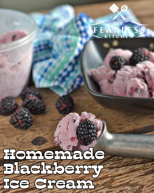 Homemade Blackberry Ice Cream from My Fearless Kitchen. This ice cream is so easy to make. Use fresh or frozen blackberries in this homemade ice cream recipe to enjoy the taste of summer all year long!