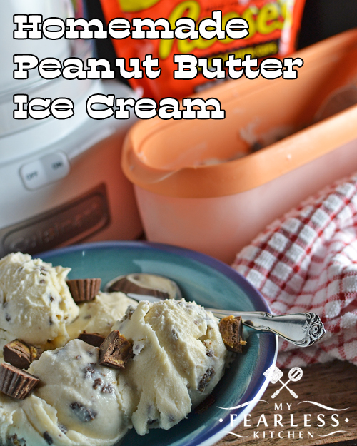 a bowl of homemade peanut butter ice cream with Reese's Peanut Butter Cups minis with a Tovolo ice cream container and a Cuisinart ice cream maker in the background