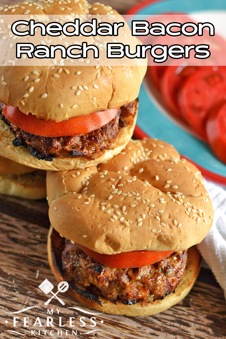 Cheddar Bacon Ranch Burgers from My Fearless Kitchen. Take your burgers to the next level with these Cheddar Bacon Ranch Burgers. They are simple to make, but packed with so much flavor, everyone will love them!