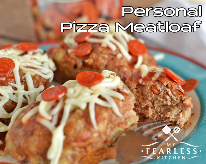 close up view of Personal Pizza Meatloaf topped with mini pepperoni and shredded mozzarella cheese
