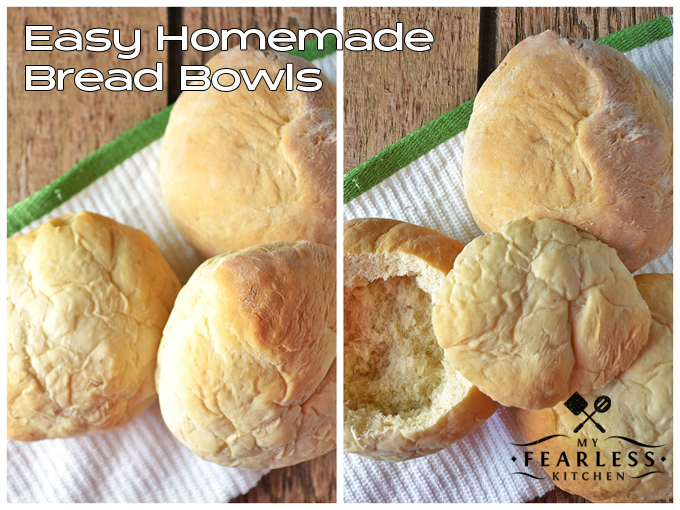Easy Homemade Bread Bowls from My Fearless Kitchen. There's just something about a bowl made from bread that adds a little extra to hot soups. Take your comfort food up a notch with this easy recipe for Easy Homemade Bread Bowls!