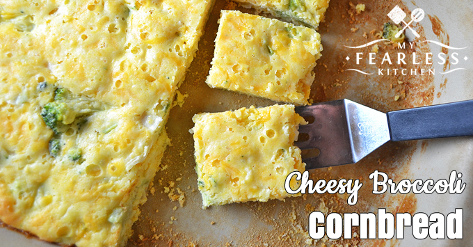Cheesy Broccoli Cornbread from My Fearless Kitchen. This Cheesy Broccoli Cornbread recipe is so easy and fast to make. And it's a great way to get an extra vegetable on your plate!