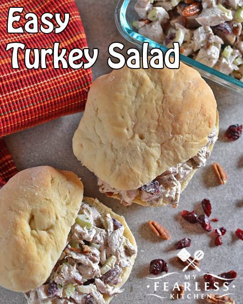 turkey salad sandwiches with dried cranberries, pecans, and celery