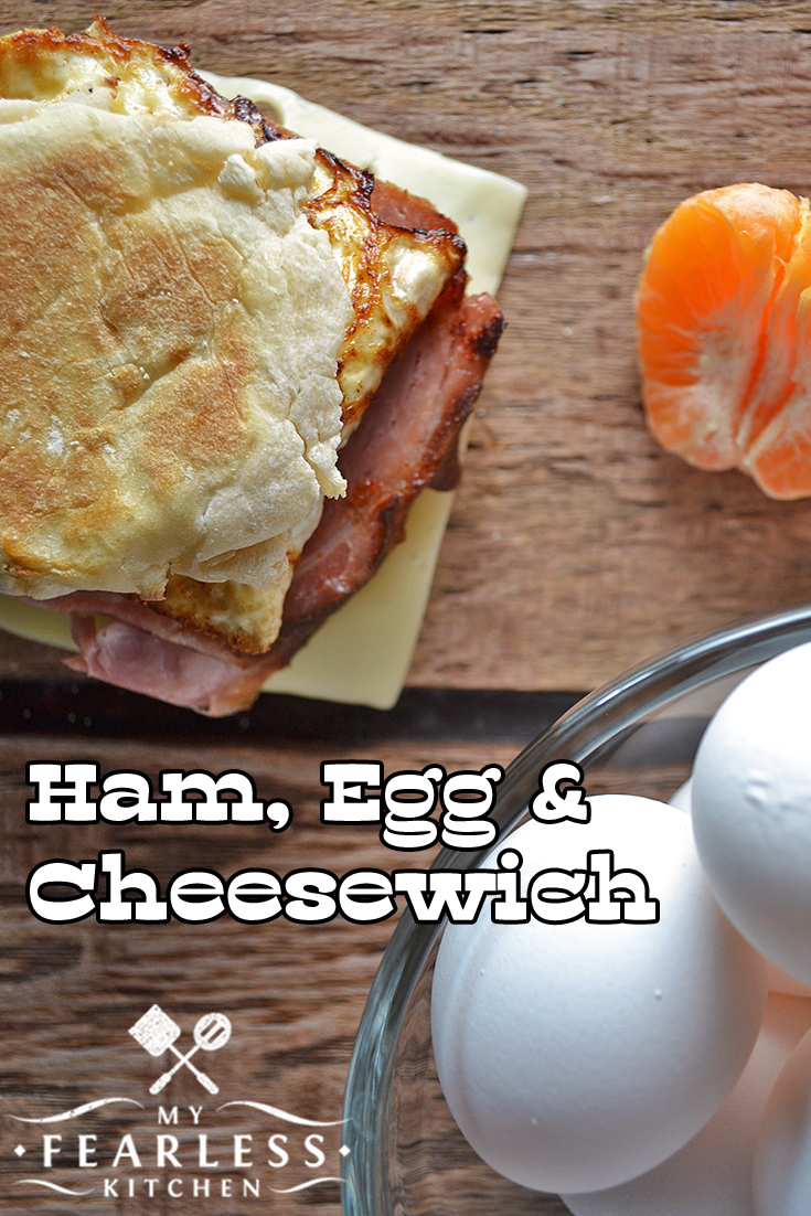 Ham, Egg and Cheesewich from My Fearless Kitchen. Breakfast doesn't have to be boring! With this Ham, Egg & Cheesewich Breakfast Sandwich, you can make a fast, easy, and tasty breakfast in no time.