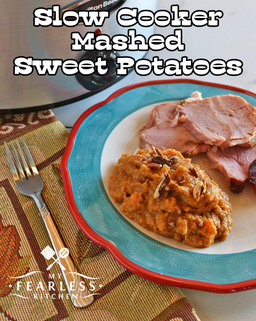 Slow Cooker Mashed Sweet Potatoes from My Fearless Kitchen. Sweet potatoes are a fun (and yummy) change from white potatoes. Try these Slow Cooker Mashed Sweet Potatoes the next time you need an easy side dish that goes with everything.