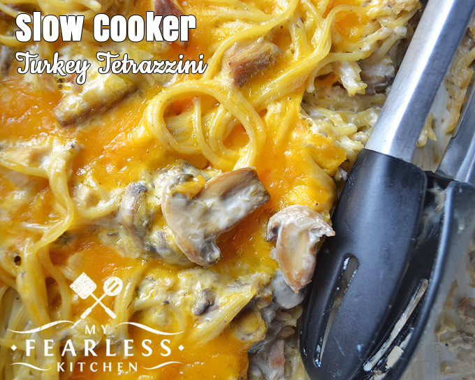 Slow Cooker Turkey Tetrazzini from My Fearless Kitchen. Delight the mushroom lovers in your family, and make dinner a snap with this Slow Cooker Turkey Tetrazzini with pasta and leftover turkey.