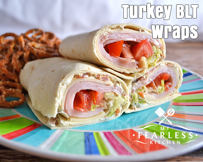 Turkey BLT Wraps from My Fearless Kitchen. These Turkey BLT Wraps are the perfect fast, easy, healthy, and filling lunch! Great for a leisurely lunch with friends or a fast lunch on the go.