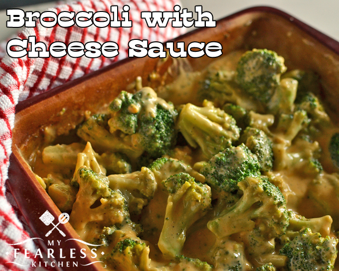 Broccoli with Cheese Sauce from My Fearless Kitchen. This recipe for Broccoli with Cheese Sauce is creamy, comforting, and so yummy! Use frozen broccoli to make it even easier, and it's a snap to make any time.