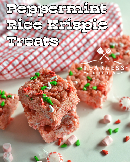 a stack of peppermint rice krispie treats with marshmallows, sprinkles, and peppermint candies