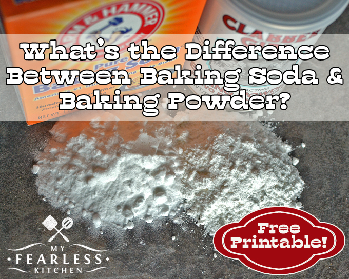 piles of baking soda and baking powder with the containers on a dark surface