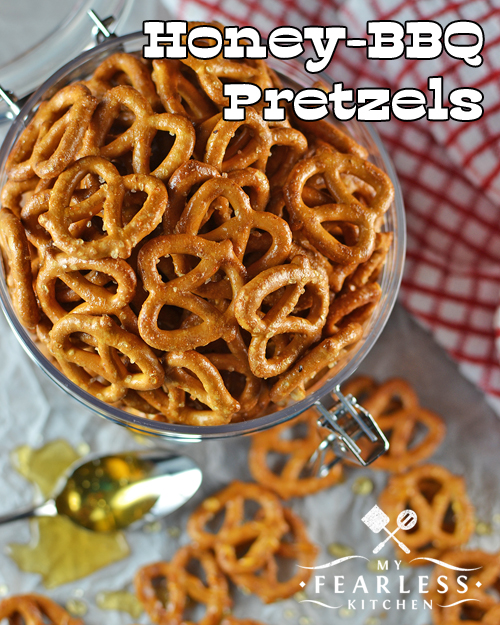 overhead view of a container of honey-bbq pretzels