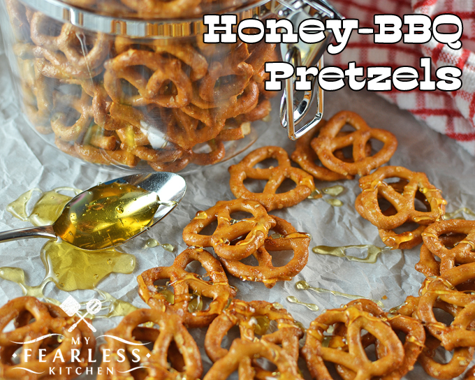 honey-bbq preztels with a spoonful of honey