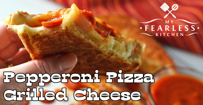 Pepperoni Pizza Grilled Cheese sandwich with mini pepperoni and pizza sauce for dipping