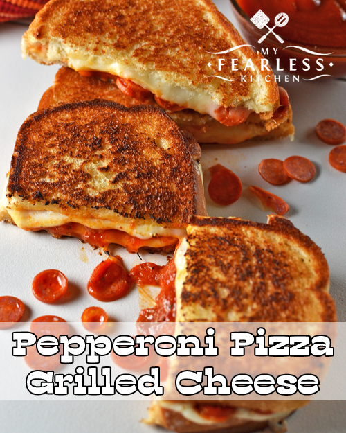 two pepperoni pizza grilled cheese sandwiches