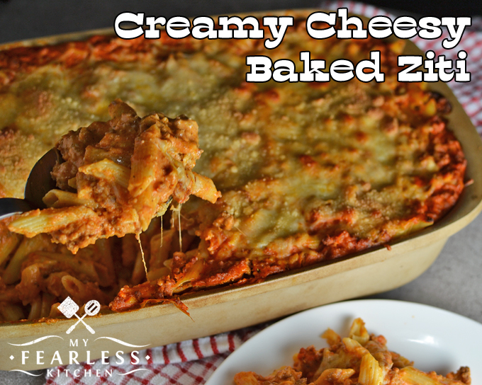 Creamy Cheesy Baked Ziti from My Fearless Kitchen. Are you looking for a baked ziti dish that's packed with cheese and still smooth and creamy? This Creamy Cheesy Baked Ziti recipe is perfect for you!