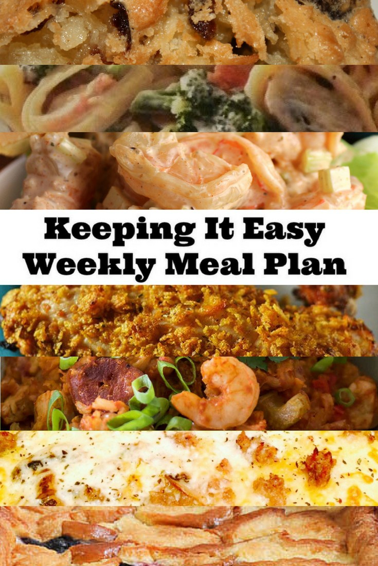 Easy Weekly Meal Plan #9 from My Fearless Kitchen. This week's meal plan includes Coconut Cherry Bars, Slow Cooker Jambalaya, Oven-Fried Chicken, Sausage Mozzarella Pizza, Parmesan Chicken Fettuccini, Maryland Shrimp Salad, and Berry Brioche Bread Pudding.