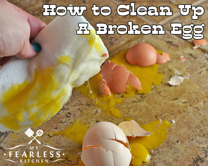How to Clean Up a Broken Egg from My Fearless Kitchen. Have you ever dropped an egg? It's a challenge to clean up a broken egg. This kitchen hack is the only trick you'll ever need to clean up a dropped egg!