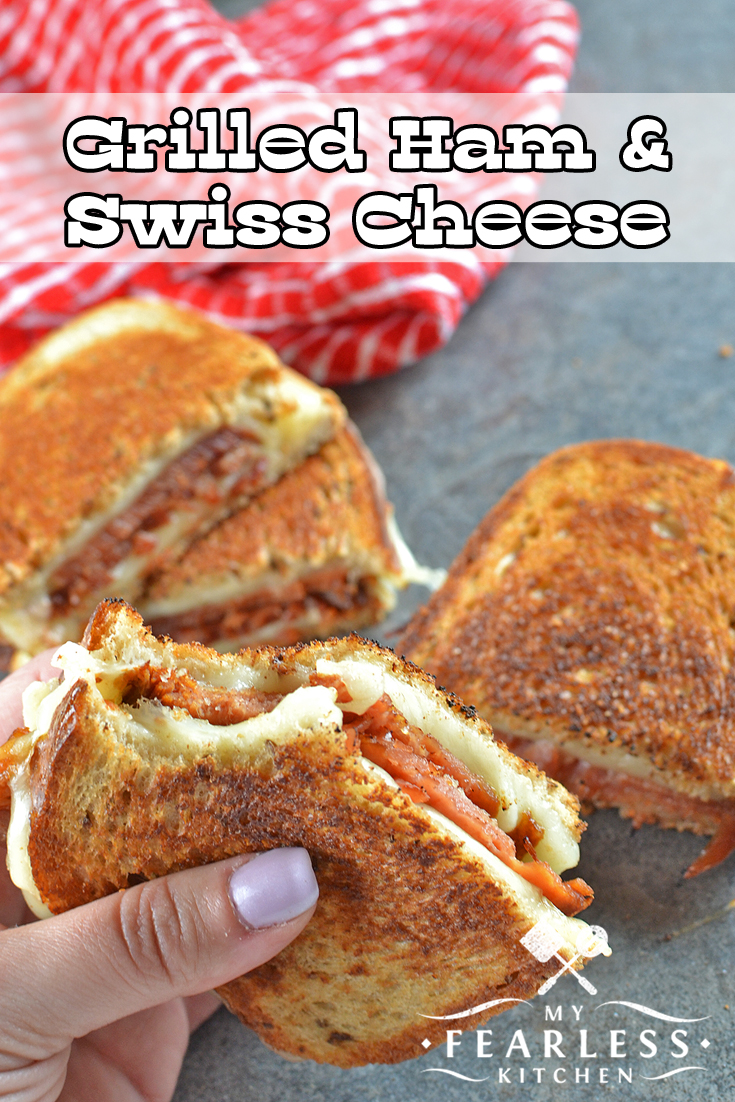 Grilled Ham & Swiss Cheese Sandwiches from My Fearless Kitchen. Grilled cheese sandwiches are delicious! This Grilled Ham and Swiss Cheese is perfect for everyone on cold nights, fast lunches, or dinner on a busy night. #ham #grilledcheese #sandwich